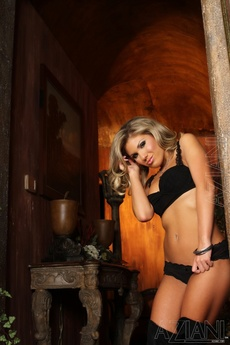 Sexy Blonde, Aubrey Addams, Is Smoking Hot In Her Black Lingerie And Thigh High Boots.  She Strips Down Revealing Her Perky Boobs, Pierced Clit And Smooth Pussy. picture 5