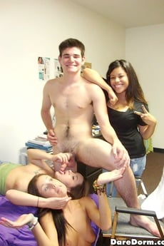 2 Hot Naked College Teens Jerk Off A Guy Then Suck And Get Fucked In These Hot Real Party Dorm Room Sex Pics picture 10