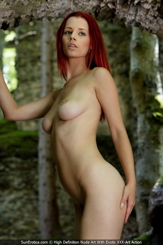 Sexy Redhead Ariel Posing For Our Fine Nude Art By The Ancient Wall And Show All Her Attributes picture 13